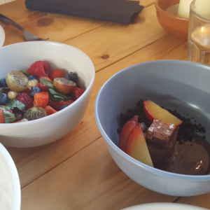 fruitsalade en choco met mout